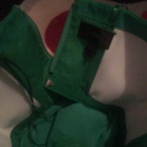 J Crew BNWT 000 Green Strapless ruffle hem dress